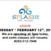 splash 2019 FEB 12 re opening at 3pm s