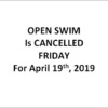 splash 2019 april 19 open swim cancelled s